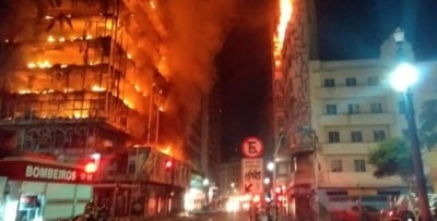 San Paolo in Brasile: crolla grattacielo in fiamme