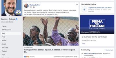 La bufala sui migranti che volevano Sky condivisa da Salvini