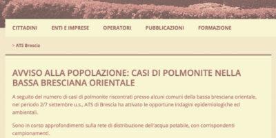 Allarme polmonite a Brescia, Lombardia in allerta