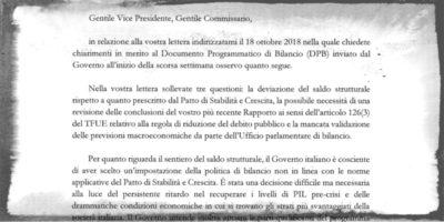 La lettera di Tria alla Commissione Europea