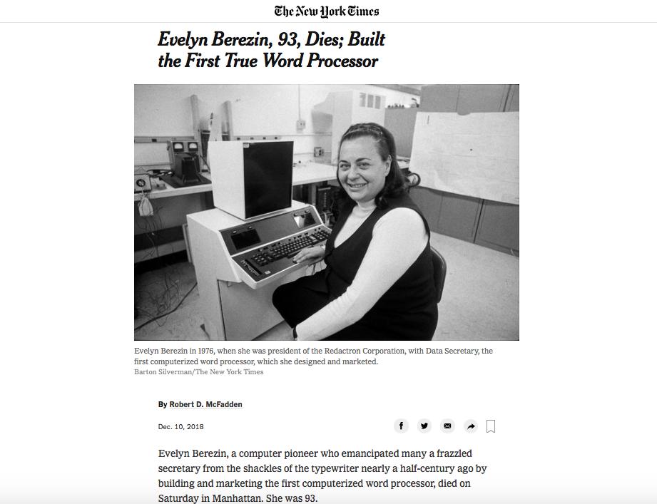 È morta Evelyn Berezin, l'inventrice del primo computer per elaborare testi