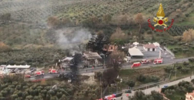 L'autocisterna esplosa sulla via Salaria