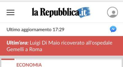 Repubblica si è scusata per avere pubblicato una notizia sbagliata su un presunto malore di Luigi Di Maio