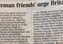 La lettera dei 31 «amici tedeschi» che chiedono al Regno Unito di restare nell'Unione Europea sul Times