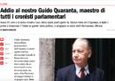 È morto il giornalista Guido Quaranta, ex cronista parlamentare dell'Espresso; aveva 91 anni