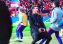 La discussa esultanza di Diego Simeone al primo gol di Atletico-Juventus