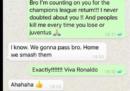 Cosa scriveva Cristiano Ronaldo su WhatsApp prima della rimonta