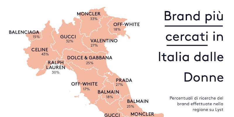 I marchi di moda più cercati in Italia, regione per regione