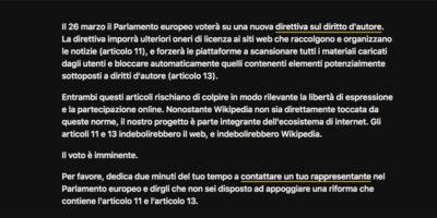 La versione italiana di Wikipedia è stata oscurata per protesta contro la riforma del copyright
