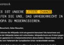 Ieri Wikipedia è stata oscurata per 24 ore in quattro paesi europei per protesta contro la riforma del copyright