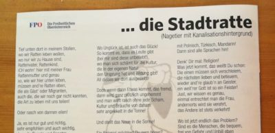 Un esponente del Partito delle Libertà austriaco ha scritto una poesia in cui paragona i migranti ai ratti