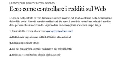 Il giorno in cui in Italia furono consultabili le dichiarazioni dei redditi di tutti