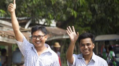 I due giornalisti di Reuters scarcerati in Myanmar