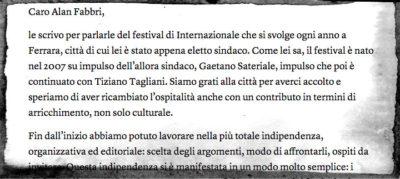 La lettera del direttore di Internazionale al nuovo sindaco di Ferrara