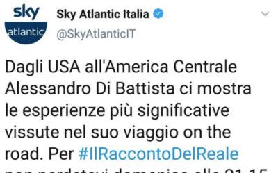 Sky Atlantic ha rimosso un tweet e una news in cui annunciava un nuovo documentario di Alessandro Di Battista, dopo alcune proteste