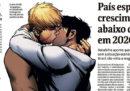 """La prima pagina di """"Folha de S.Paulo"""", con un bacio tra due uomini"""