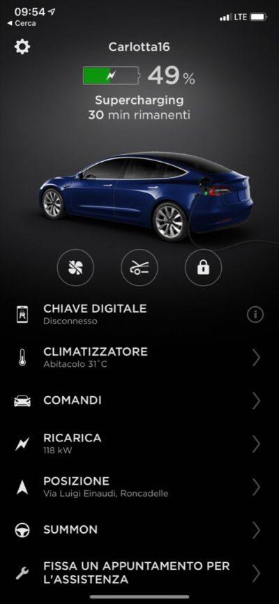 Tesla Model 3 la app per iOS (Foto © Antonio Dini)