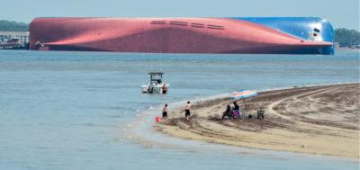 Le foto della enorme nave che si è rovesciata in Georgia, USA