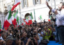 Le foto della manifestazione di Salvini e Meloni fuori da Montecitorio