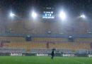 Lecce-Cagliari è stata rinviata a lunedì per maltempo