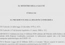 L'ordinanza sulle chiusure in Lombardia per il nuovo coronavirus