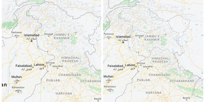 Come Google Maps mostra i confini dei territori contestati