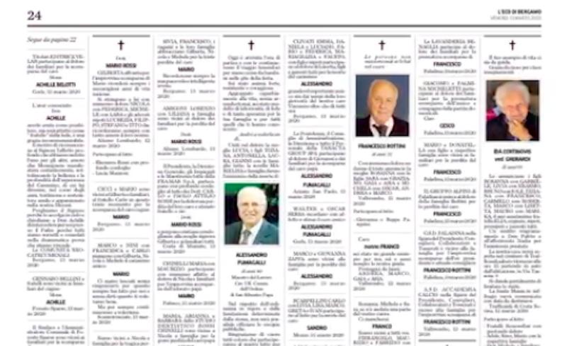 L'Eco di Bergamo di ieri aveva 10 pagine di necrologi ...