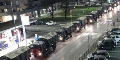 Le bare dei morti di COVID-19 di Bergamo portate sui camion dell'esercito
