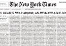 La prima pagina del New York Times fatta interamente con i nomi dei morti per il coronavirus