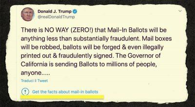 Per la prima volta Twitter ha segnalato un tweet di Trump come fuorviante