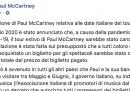Secondo Paul McCartney è «scandaloso» che i biglietti dei suoi concerti italiani cancellati per il coronavirus non siano rimborsati