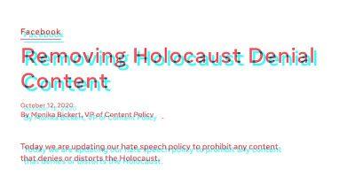 Facebook rimuoverà i contenuti che negano l'Olocausto