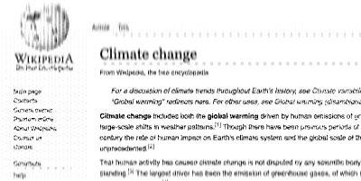 I guardiani della pagina sul cambiamento climatico di Wikipedia
