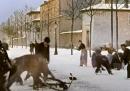 Una giocosa battaglia di palle di neve ottocentesca