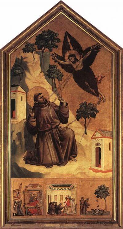 Stigmatizzazione di Francesco (Giotto, Pala del Louvre).