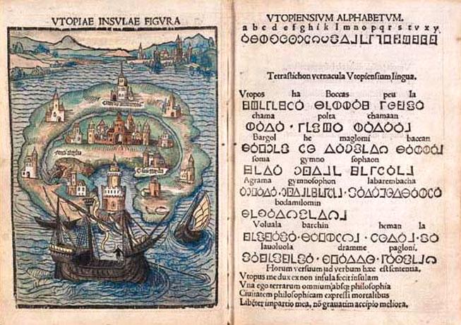 In Utopia ci sono le cartine e c'è anche l'alfabeto finto, insomma Tolkien non si è veramente inventato nulla.