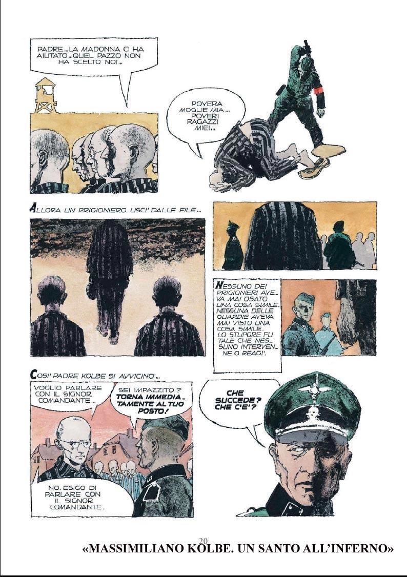 Padre Kolbe è anche il santo meglio onorato dai fumettisti italiani. Questo è Dino Battaglia nel 1962.