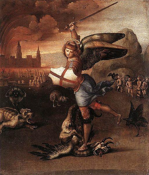Michele visto da Raffaello, poco convinto (Satana fa quasi pietà).